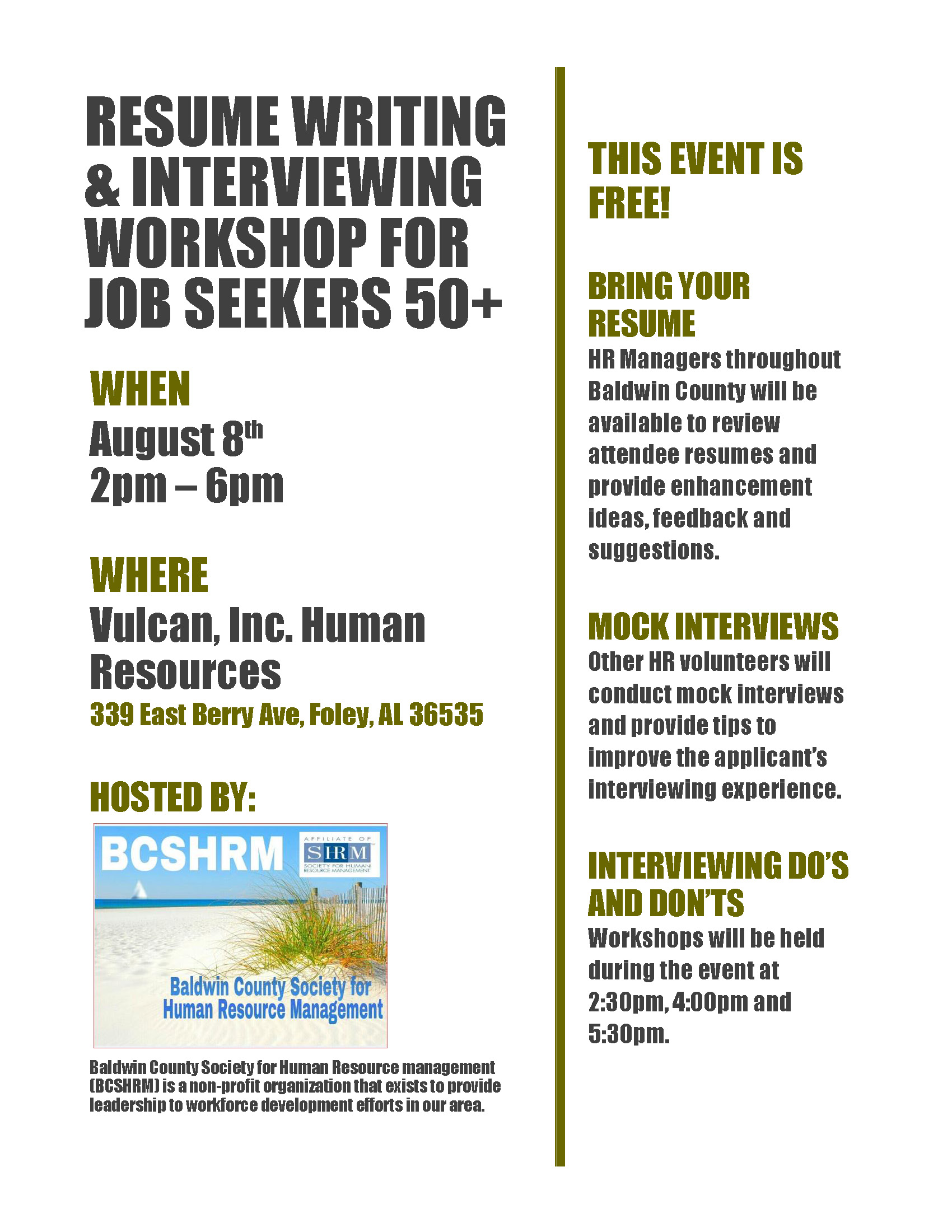 Event Resume Writing Interviewing Workshop For 50 Job Seekers